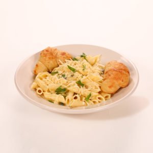 Creamy Basil Alfredo Sauce. Served with 2 Garlic Knots