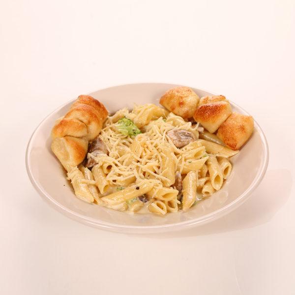 Mushroom & Broccoli in Alfredo Sauce. Served with 2 Garlic Knots
